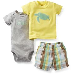 Carters Boys 0-24 Months Turtle Diaper Set (58 BRL) ❤ liked on Polyvore featuring baby boy