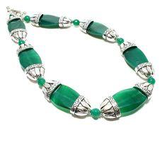 Emerald Green Chunky Gemstone Necklace  by BigSkiesJewellery #green #statement #necklace #handmade #beaded #gemstone #agate #greennecklace