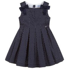 Girls navy blue and white polka dot dress from Mayoral, made in soft cotton, with a lightweight polycotton lining. It has pretty bows on the shoulders and a full, pleated skirt. Baby Girl Dress Design, Baby Girl White Dress, Girls Frock Design, Kids Dress Wear, Kids Gown, Toddler Girl Dresses, Baby Frock Pattern, Baby Dress Patterns, Baby Frocks Designs