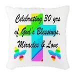 GOD LOVING 30TH Burlap Throw Pillow http://www.cafepress.com/jlporiginals/12488584 #30thbirthday #30yearsold #Happy30thbirthday #30thbirthdaygift #30thbirthdayidea #Christian30th  #happy30th