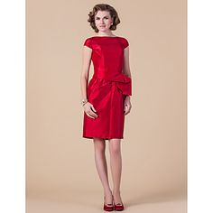 Sheath/Column Bateau Knee-length Taffeta Mother of the Bride Dress – CAD $ 138.14