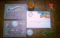 My vintage rustic wedding invitations with logo magnet #nozze #matrimonio #partecipazioni #calamita #redheart #sposa #bride