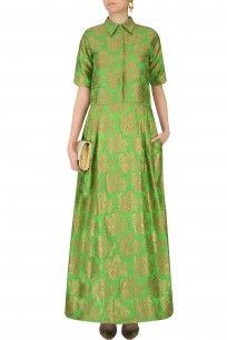 Parrot Green and Gold Floral Handwoven Brocade Shirt Dress Western Dresses, Indian Dresses, Salwar Kameez, Buy Wedding Dress, Wedding Dresses, Prom Dresses, Summer Dresses, Formal Dresses, Clothing Basics