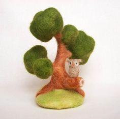 Owl Tree  Needle Felted Tree Needle Felted Owl Wool by FluffyFuzzy, $30.00