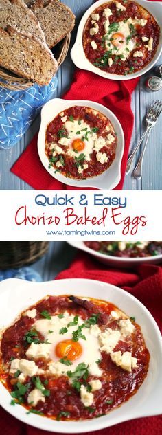 A really quick and tasty supper. On the table within half an hour, packed with delicious tomatoes and feta, this Chorizo Baked Eggs recipe also high in protein. Serve with crusty bread for dipping. http://www.tamingtwins.com