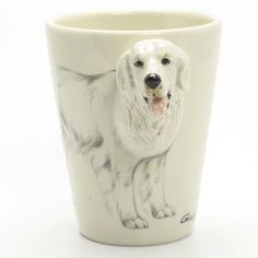 http://www.muddymood.com  Original hand sculpt and hand paint   Great Pyrenees Dog Ceramic Mug Dog Lover.