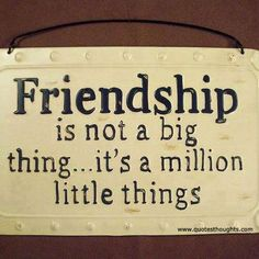 Friendship Quote - Friendship is not a big thing....it's a million little things.