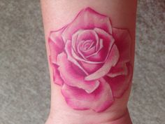 My pink rose tattoo with no black outlines, just shading