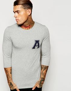 ASOS Extreme Muscle Fit 3/4 Sleeve T-Shirt With Varsity Print