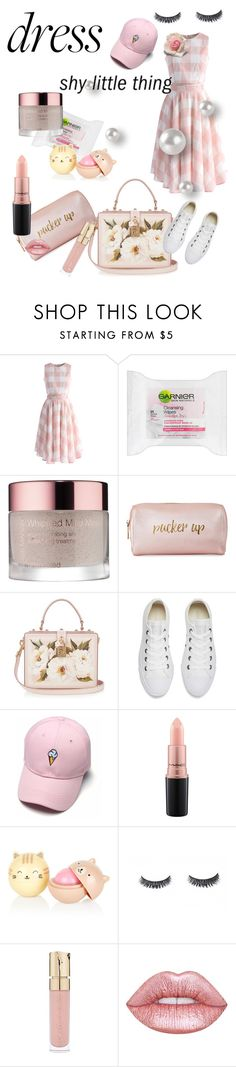 """""""Untitled #428"""" by klm62 on Polyvore featuring Chicwish, Garnier, Josie Maran, Franklin, Neiman Marcus, Dolce&Gabbana, Converse, MAC Cosmetics, Smith & Cult and Lime Crime"""