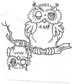 Vintage owls embroidery transfer