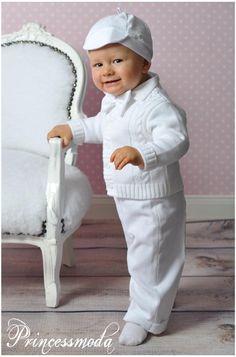 Von PRINCESSMODA SEBASTIAN Wunderschöner Taufanzug mit Strickjacke in creme