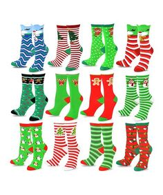 Another great find on #zulily! Green & Red Winter Crew Socks Set by TeeHee Socks #zulilyfinds