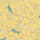 Sanderson Finches Yellow Wallpaper