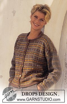 DROPS jakke i Silke-Tweed med nordisk ruder Drops Design, Tweed, Fair Isle Knitting, Free Knitting, Knitting Ideas, Cardigan Jacquard, Sweater Knitting Patterns, Crochet Patterns, Magazine Drops