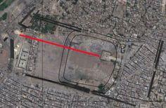Héliopolis. Alignement du site du Souk al-Khamis et de l'obélisque de Sésostris Ier.
