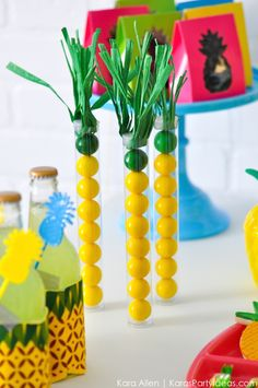 Pineapple Gumball Tubes! Party Like a Pineapple birthday party via Kara Allen | Kara's Party Ideas | KarasPartyIdeas.com Pineapple party ideas, supplies, recipes, decor and more!