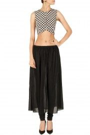 Triangle print crop top with skirt and churidaar