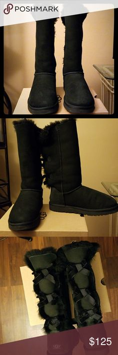 Black Tall Bailey Bow Uggs The Bailey Bow design,  black tall, velvet bows down the back. Worn only 3 to 4 times, EUC. size 10 UGG Shoes Winter & Rain Boots