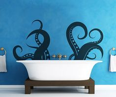 Vinyl wall decal of octopus tentacles. So cool looking next to the bathtub.
