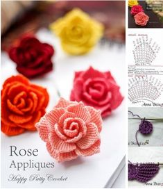 Rosas tejidos a crochet para aplicaciones Rose Applique, Place Cards, Place Card Holders, Instagram, Floral, Flowers, Images, Google, Crochet Flowers