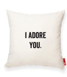 Cute for bed accent pillow!  I ADORE YOU Muslin Decorative Pillow