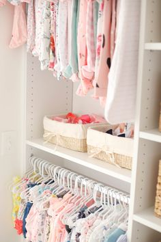 Our beautiful floral nursery that is bright and airy with pops of pink! Baby Emma is here so I'm excited to finally share her nursery reveal! Baby Nursery Closet, Baby Girl Closet, Nursery Dresser, Nursery Room, Girl Nursery, Girl Room, Bedroom, Nursery Decor, Kitchens