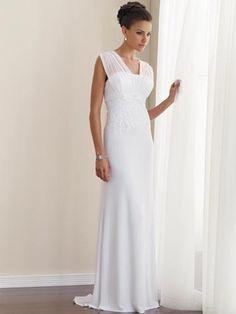 LÍnea A Escote v capa manga cintura alta Long Zippered Back Vestidos de novias sencillos