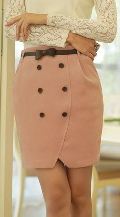 Styleonme_Tulip Lined Button Skirt #skirt #tulip #buttondown