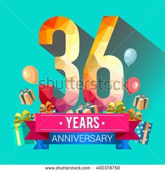 36 Years Anniversary celebration logo, 36th Anniversary celebration, with gift box and balloons, colorful polygonal design. - stock vector