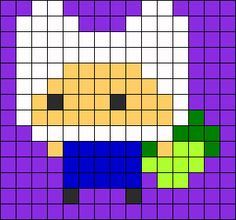 Tiny Finn Adventure Time perler bead pattern i love it
