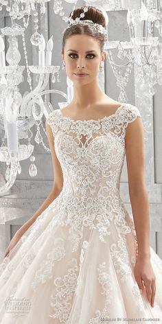 morilee fall 2017 blu bridal cap sleeves illusion bateau sweetheart neckline heavily embellished bodice princess romantic pink a  line wedding dress shear lace back chapel train (73) zv  -- Morilee by Madeline Gardner Fall 2017 Blu Bridal Collection