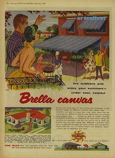 Original Vintage Australian Ad: Brella Canvas. K & A Sun Seekers. (1959)