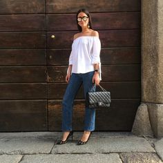 """Pin for Later: 45 Outfits to Try When You """"Have Nothing to Wear"""" For a Night Out An Off-the-Shoulder Top, Structured Jeans, and Pointed-Toe Heels"""