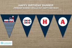 Train Printable - Train Birthday - Train Banner - decorations - choo choo - printable party - 2nd birthday - first birthday - boy birthday. $9.00, via Etsy.