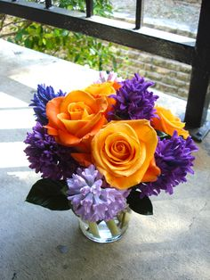 purple hyacinth & voodoo roses - love the flowers and the color combination