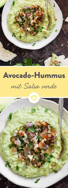 Grün in grün: Avocado-Hummus und würzige Salsa Verde bilden eine perfekte Farbharmonie. Genuss fürs Auge und den Gaumen!