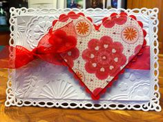 Valentine Card, Spellbinders Romantic Rectangles, Spellbinders Classic Hearts, Classic Scalloped Hearts, Cuttlebug Floral Fantasy