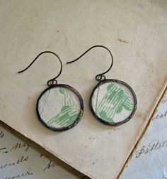 Vintage Quilt Earrings Green Fiber