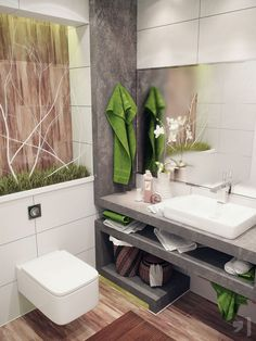 Fresh Natural Small Bathroom Design with Wooden Flooring and a Flat Mirror