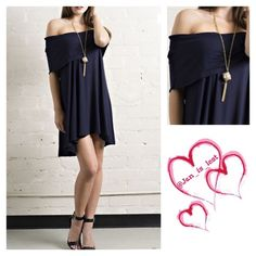Sale Off-the-Shoulder Tunic L was $29 Off-the-shoulder Jersey Knit Tunic top with - fold over neckline- slight high-low hem - Color is navy  - Fit is Small (2-4) Medium (6-8) Large (10-12) in women's size. Content: 95% RAYON 5% SPANDEX Any questions please ask.  No trades Happy Poshing Tops Tunics