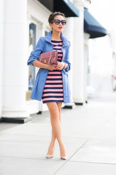 Rosy Sky :: Striped dress & Summer trench : Wendy's Lookbook