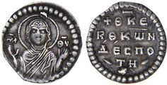 Constantine X Ducas (1059-1067). 1/3 Miliaresion. Constantinople. Bust of the Theotokos facing, orans, nimbate, wearing maphorium over chiton, cruciform pellets on shoulder and forehead; in field l. and r., M-P and ΘV. Rv. +ΘKE/R,Θ,KωN/ΔЄCΠO/' TH,. AR 0.69 grams, 6h. DOC 7b note (this coin); Sear 1852B. Only three examples recorded, all pierced. Very rare. Beautiful style. Toned Very Fine.   Ex Despot and Hunt Collections (Sotheby's New York sale, December 1990, lo...
