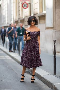 Get the Italian signorina look with the off the shoulder midi dress and wrap wedges II street style fashion
