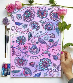 Persian Flowers Watercolour Print