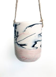 Black and Pink Marbled Planter. Design. Home.
