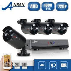 ANRAN AHD 4CH 1080N CCTV DVR Kit HD CCTV Security Camera System 4pcs 720P IR Night Vision Outdoor Survelliance Camera Kit #watches, #belts, #fashion, #style, #sport