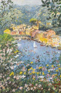 MICHELE CASCELLA 1892 - 1989 SPRINGTIME IN PORTOFINO