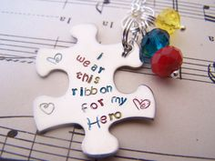 Autism Awareness Month Special Autism Awarenes Keychain, Hand Stamped Puzzle Piece Keychain,  Puzzle Piece Key Chain, Custom Name Gift