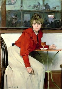 Girl in a Bar, 1892, by Ramón Casas i Carbó (Spanish, 1866-1932)